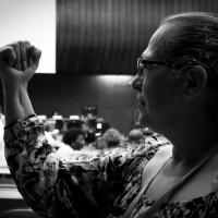 BertaVillamizar du syndicat SINTRAIMAGRA après son intervention sur les droits des travailleuses domestiques
