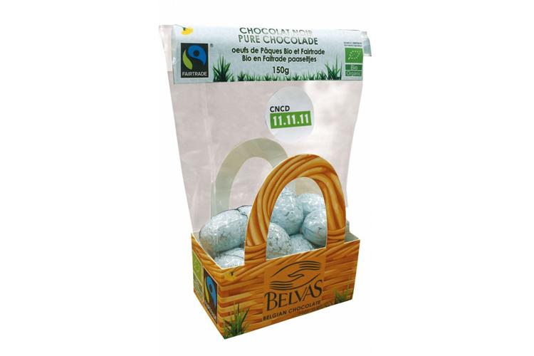 Sachet d'œufs de Pâques 1 saveur : des œufs pleins au chocolat noir. 150g / sans gluten, bio et commerce équitable.