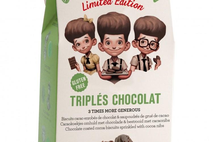 Les triplés chocolat. Le biscuit tout chocolat (8 €)